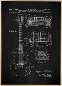 Lagervaror egen produktion Patentzeichnung - E-Gitarre I - Schwarz