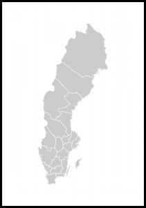 Bildverkstad Schwedenkarte Grau Poster