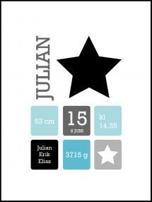 Personlig poster Star Birth Poster Black/Blue