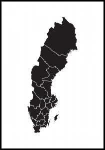 Bildverkstad Schwedenkarte Schwarz Poster