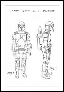 Lagervaror egen produktion Patentzeichnung - Star Wars - Boba Fett - Weiß Poster