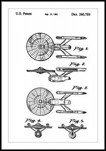 Lagervaror egen produktion Patentzeichnung - Star Trek - USS Enterprise Poster