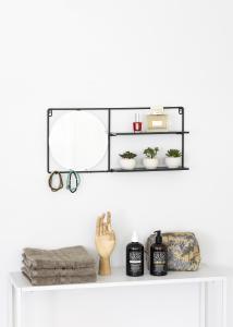 KAILA KAILA Runder Spiegel mit Ablage - Schwarz 55x25 cm