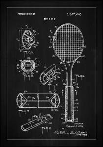 Bildverkstad Patent Print - Tennis Racket - Black Poster