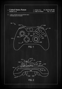 Lagervaror egen produktion Patent Print - Game Controller III - Black Poster