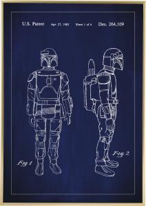 Bildverkstad Patentzeichnung - Star Wars - Boba Fett - Blau Poster