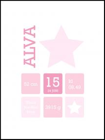 Personlig poster Star Birth Poster Pink