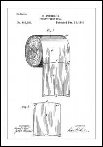 Lagervaror egen produktion Patent Print - Toilet Paper Roll - White Poster