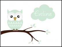 Personlig poster Owl Name Poster Light Green