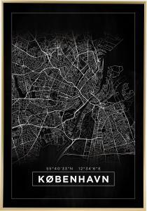 Bildverkstad Map - København - Black Poster