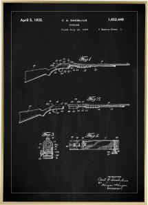 Bildverkstad Patentzeichnung - Gewehr I - Schwarz Poster