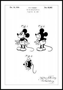Lagervaror egen produktion Patentzeichnung - Disney - Micky Maus Poster