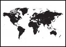 Lagervaror egen produktion Weltkarte - Schwarz Poster