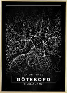 Bildverkstad Map - Göteborg - Black Poster