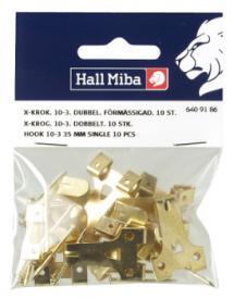X-Haken 10-3, 35 mm doppelt vermessingt 10er-Pack