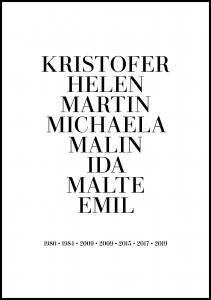 Personlig poster Familienbild - 8 Namen & Geburtsjahre - Weiß