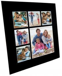 Galleri 1 Passepartout Schwarz Collage (weißer Kern) 6 Bilder 50x50 cm