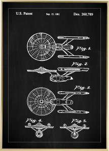Bildverkstad Patentzeichnung - Star Trek - USS Enterprise - Schwarz