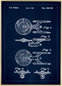 Bildverkstad Patentzeichnung - Star Trek - USS Enterprise - Blau