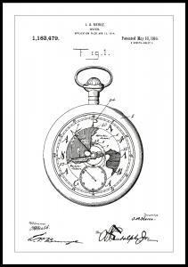 Bildverkstad Patentritning - Fickur - Vit
