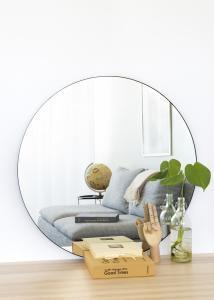 House Nordic Spiegel Jersey Schwarz 80 cm Ø