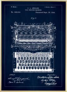 Bildverkstad Patentritning - Skrivmaskin - Blå