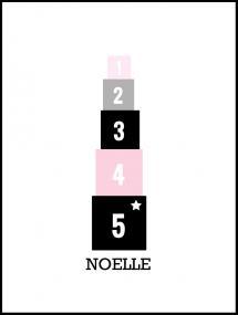 Personlig poster Blocks Pink