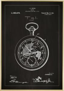 Bildverkstad Patentritning - Fickur - Svart