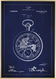 Bildverkstad Patentzeichnung - Taschenuhr - Blau Poster