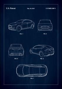 Bildverkstad Patent Print - Tesla - Blue