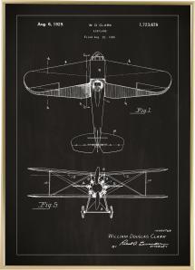 Lagervaror egen produktion Patentzeichnung - Flugzeug - Schwarz Poster
