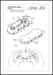 Bildverkstad Patent Print - Game Controller I - White Poster