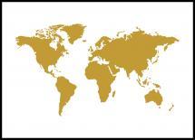 Bildverkstad Weltkarte Gold Poster