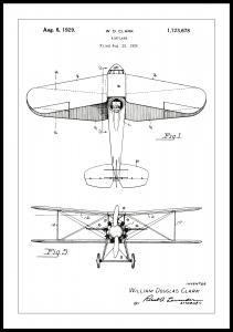 Lagervaror egen produktion Patentzeichnung - Flugzeug - Weiß Poster