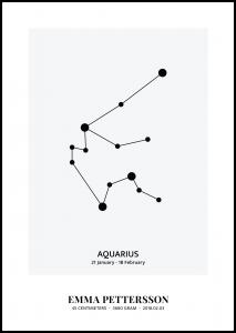 Personlig poster Aquarius - Star Sign