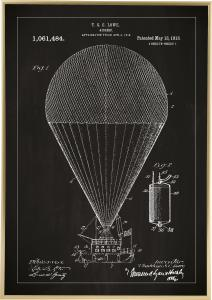 Bildverkstad Patentzeichnung - Luftschiff - Schwarz Poster