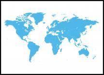 Bildverkstad Weltkarte Blau Poster
