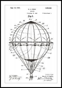 Bildverkstad Patentzeichnung - Heißluftballon - Weiß Poster