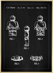 Lagervaror egen produktion Patentzeichnung - Lego I - Schwarz Poster