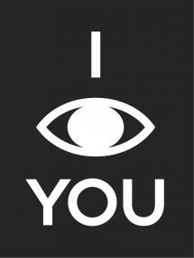 Bildverkstad I see you - Schwarz mit weißem Druck Poster