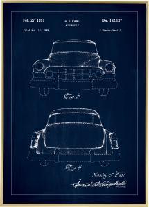 Bildverkstad Patentzeichnung - Cadillac II - Blau