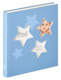Walther Estrella Babyalbum Blau - 28x30,5 cm (50 weiße Seiten / 25 Blatt)