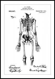 Bildverkstad Patentzeichnung - Anatomisches Skelett I Poster