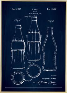Bildverkstad Patentzeichnung - Coca-Cola-Flasche - Blau